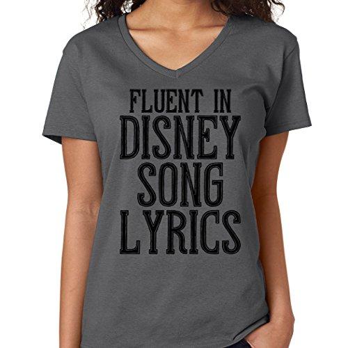 SignatureTshirts Women's Fluent in Song Lyrics V-Neck Princess Singer Shirt Charcoal