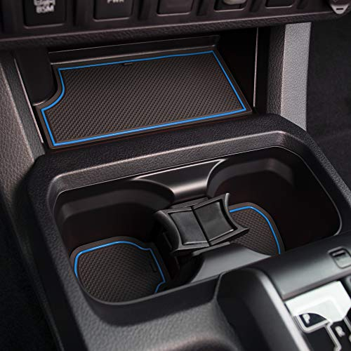 Custom Fit Cup, Door Center Console Liner Accessories for Toyota Tacoma 2019 2018 2017 2016 18PC Set (Double Cab, Blue Trim)