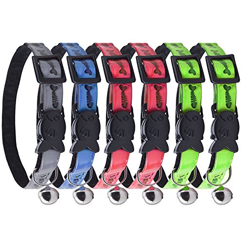 CHOLEGIFT Puppy Cat Collar with Bell Pack of 6 Breakaway Kitten Collars - Adjustable Reflective Effect Small/Medium Pet Safety Stretch Necklace - Soft Black Velvet Inside Comfort Felt