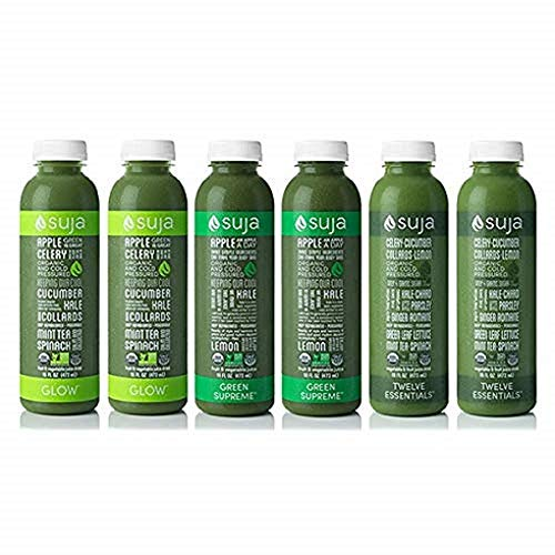 Suja Organic Cold-Pressed Juice, Green Freak Variety Pack, 16 Fl Oz (Pack of 6), Plant-Powered Vegetable and Fruit Juices, Vegan, Gluten-free, Non-GMO, Made in USA