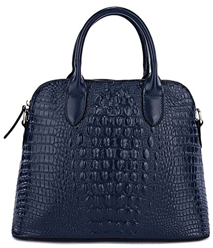 QZUnique Women's Cowhide Genuine Leather Crocodile Veined Cross Body Shoulder Handle Amphibious Shell Bag Dark Blue by QZUnique