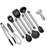 Kitchen Utensils, 9 Pieces Silicone and Stainless Steel Cooking Utensils set, Nonstick Non-Scratch Kitchen Tools- Spoon, Whisk, Spatulas, Skimmer, Ladle, Serving Tongs, Pasta Server, Peeler (Black)