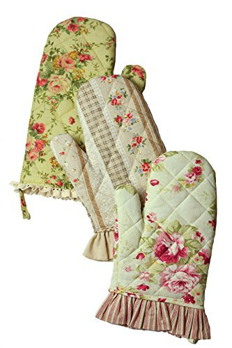 Victorian Trading Co Shabby Chic Vintage Floral Print Oven Mitts Set of 3 - Floral Print Victorian