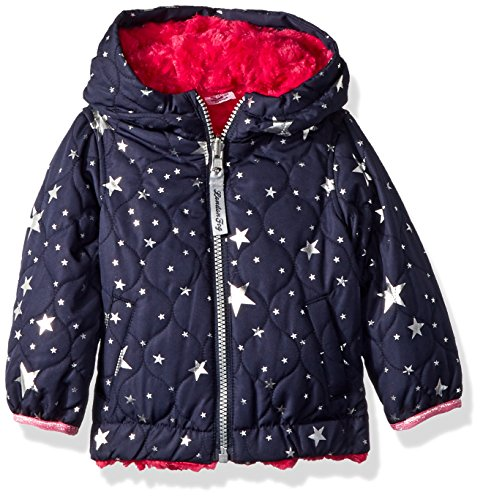 (London Fog Baby Girls Reversible Quilted Midweight Jacket, Navy foil Star, 12MO)