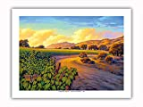 Pacifica Island Art - Vineyard Sunset - Wine Country Art by Kerne Erickson - Premium 290gsm Giclée Art Print 12in x 16in