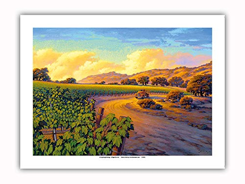 Pacifica Island Art - Vineyard Sunset - Wine Country Art by Kerne Erickson - Premium 290gsm Giclée Art Print 12in x 16in by Pacifica Island Art (Image #1)