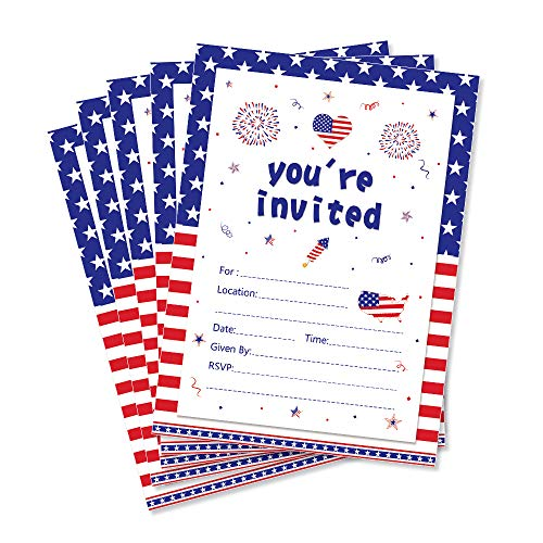 CC HOME 4th of July Summer BBQ Cookout Invitations With Envelopes (20 Count) for Patriotic ,Memorial Day, Veterans Day Party, Independence Day Celebration, Labor Day,Military Graduation Pool Family Reunion Invite, Picnic Cookout Invites ,Baby Shower ,Birthday Party Decorations