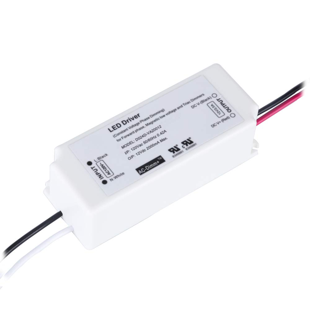 (UL Listed) Dimmable LED Driver 12V 24W IP67 Waterproof Power Supply, Constant Voltage Transformer Triac Dimming, Work with Wall Dimmer, 120V AC Line Dimming for LED Strip Light, Under Cabinet