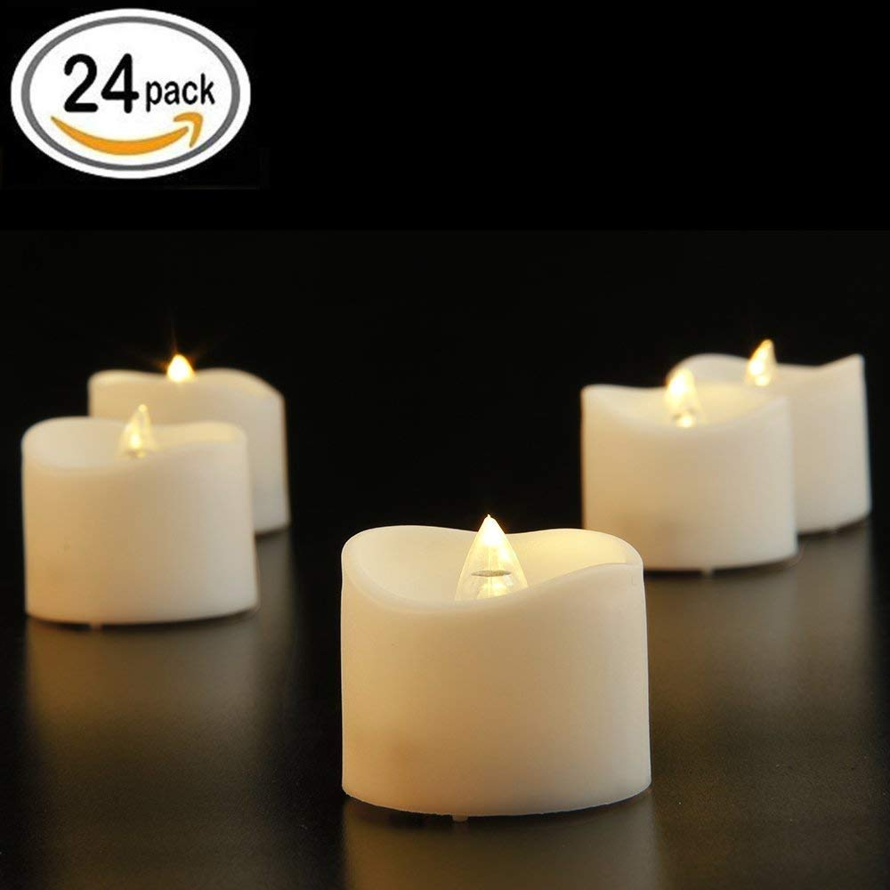 24 Pcs Flameless Led Tealights Electric Bulb Battery Operated Realistic and Bright Flickering Fake Candles for Seasonal & Festival Celebration,Warm White and Wave Open