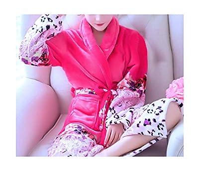 Femaroly Women Flannel Warm Soft Fleece Robe Lightweight Bath Spa Robe Nightgown
