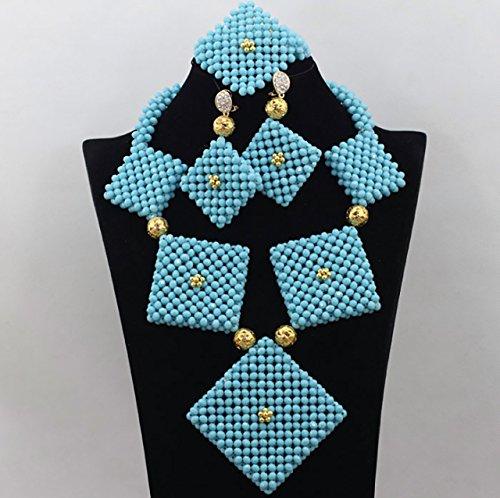 Nouveau Cristal Bleu Ciel africain Perles Parure de bijoux avec collier Bijoux Bague Superbe Motif