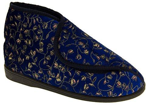 Navy Adjustable Womens Orthopaedic Slipper Boots BXxqnxwFTI