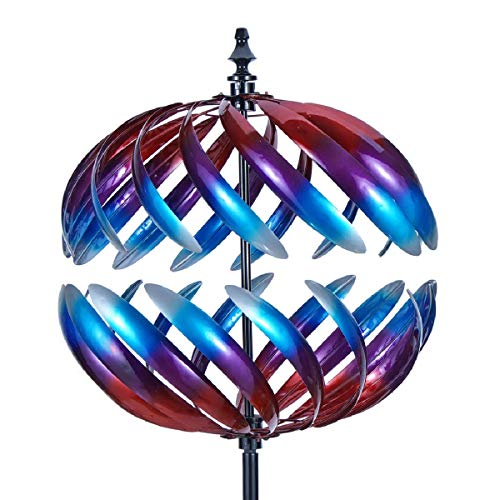 3D Wind Spinners 360 Degrees Garden Spinner with Reflective Painting Kinetic Wind Spinner Vertical Metal Sculpture Stake for Outdoor Yard Lawn and Garden (Multi-Color) … ()