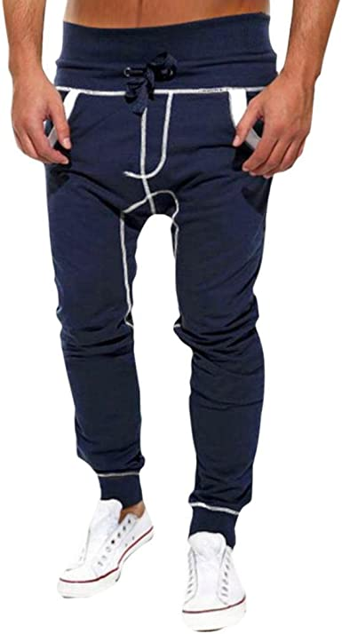 WOCACHI Men Harem Beam Pants Casual Jogger Sportswear Trousers Baggy Sweatpants