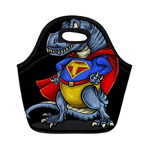 Semtomn Lunch Bags Ancient of Dinosaur Rex Character Costume and Strong Muscle Neoprene Lunch Bag...