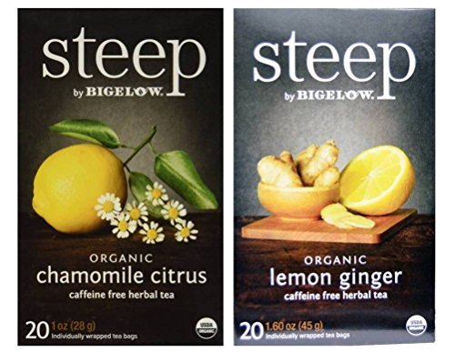 Steep By Bigelow Organic Caffeine Free Herbal Tea 2 Flavor Variety Bundle: (1) Bigelow Organic Chamomile Citrus Herbal Tea, and (1) Bigelow Organic Lemon Ginger Herbal Tea, 1-1.60 Oz Ea