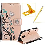 Strap Case for Samsung Galaxy S7,Smart Leather Cover for Samsung Galaxy S7,Herzzer Stylish Butterfly Flower Design Wallet Folio Case Full Body PU Leather Protective Stand Cover with Inner Soft Silicone Shell for Samsung Galaxy S7 + 1 x Free Yellow Cellphone Kickstand + 1 x Free Yellow Stylus Pen - Gold