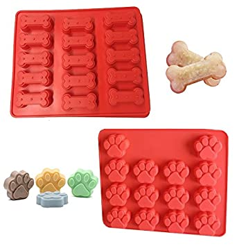 Mobi Kitchen Dog Treats Silicone Cookie Cake Pan Mold - Set of 2 - Bone-Shaped and Paw Prints dog-treats-mold-combo-1