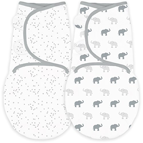 Amazing Baby Swaddle Blanket with Adjustable Wrap, Set of 2, Tiny Elephants and Confetti, Sterling, Small by Amazing Baby