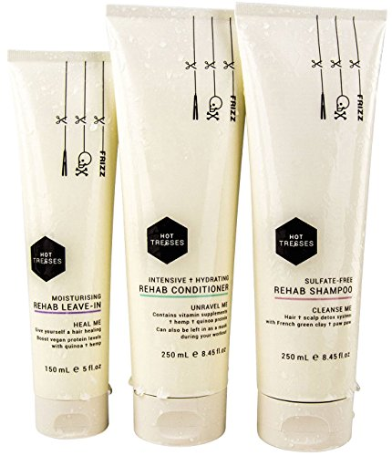 Natural Shampoo & Conditioner & Leave-In Set - Certified Vegan and Cruelty Free | 3 Pce Gift Box | SLS Sulfate Free & Paraben Free with Hemp & Coconut Oil | best for damaged, dry, frizzy & curly hair (Moisturizing Hemp Conditioner Hair)