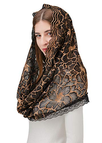 Pamor Infinity Floral Veils Scarf Chapel Veil Head Covering Wrap Style Latin Mass Lace Mantilla with Free Hairclip (Coffee) ()