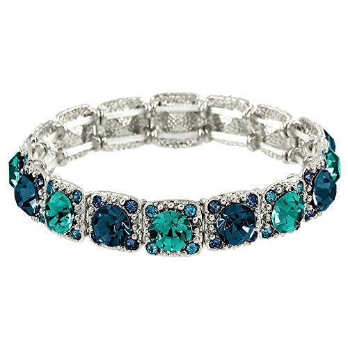 - Falari Crystal Stretch Bracelet Wedding Bracelet (Montana & Blue Zircon) B1534-MOBZ