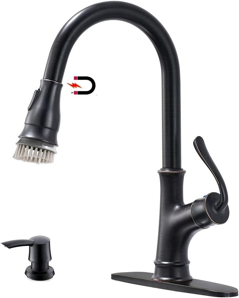 APPASO Pull Down Kitchen Faucet with Magnetic Docking Sprayer and Soap Dispenser Oil Rubbed Bronze – Single Handle Commercial 1 Hole Pull Out Kitchen sink Faucets with Deck Plate