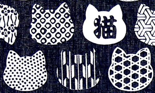 Narumikk noren Japanese Style Doorway Curtain 85x150cm Dark Blue Cloth cat Pattern