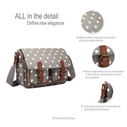 BODY MISS SATCHEL POLKA OILCLOTH Grey SCHOOL SHOULDER BAG LULU Polka DOTS Dots OWL FLORAL CROSS HAND SKULL gwFfqg8