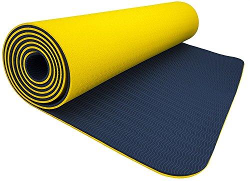 Wacces TPE Exercise Fitness Yoga Gym Training Premium Mat Dual (Blue Lotus Yoga Mat)