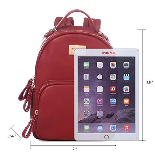 Bag Red DAVIDJONES Travel Leather Women's Backpack Small Purse Shoulder Faux Mini TvT0waqA