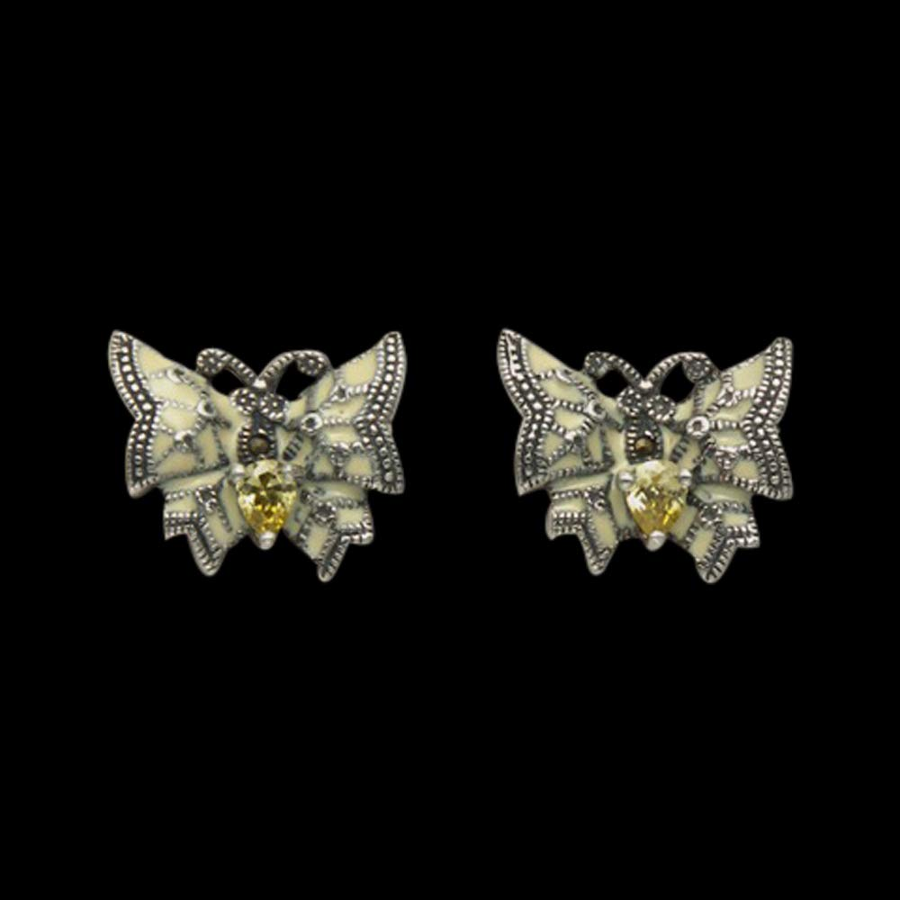 Sterling Silver Enamel /& Marcasite Butterfly Stud Earrings w//Faceted Yellow Crystals