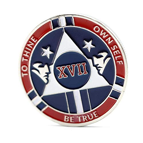 - MyRecoveryStore 17 Year Red and Blue Patriotic Yearly AA Medallion Large Sized w/Coin Capsule Red and Blue Alcoholics Anonymous AA Chip 1-50 Years