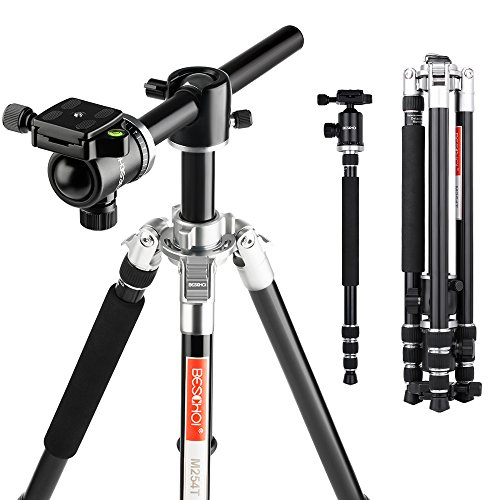 "Beschoi M254T 67"" Camera Tripod with Transverse Center Column Function,Professional Aluminium Tripods Portable Monopod with Ball Head for Digital Camera/DSLR/SLR Cameras"