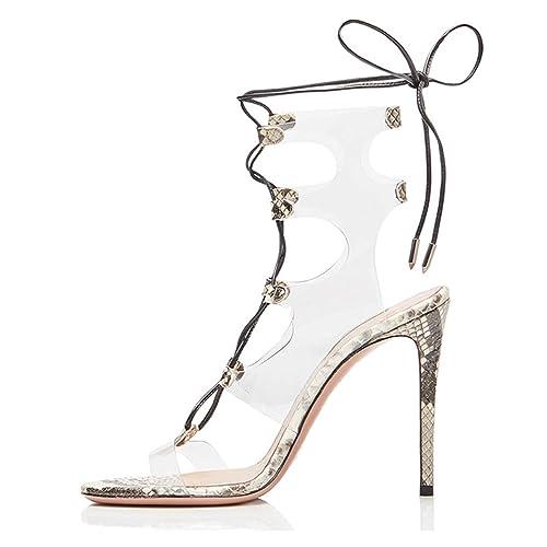 wetkiss Women Gladiator Sandals for Women high Heel lace up Gladiator Sandals PVC Clear Sandals for Women