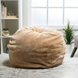 Meridian Bean Bag Chair | Plush Faux Fur Chair | Comfortable and Fun Beanbag for the Whole Family| Non-Spill Memory Foam Filling (Tannery)