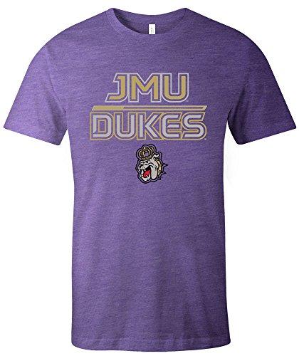 Image One NCAA James Madison Dukes Adult NCAA Reverse Short Sleeve Triblend T-Shirt,Medium,Purple