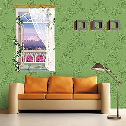Wapel 3D Fake Window Lavender Sticker Living Room Sofa Bathroom Bedroom  Background Wall Art Vinyl Home