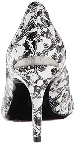 Calvin Klein Kvinders Gayle Pump Sort / Hvid Blomstret Patent jC3Ba2u