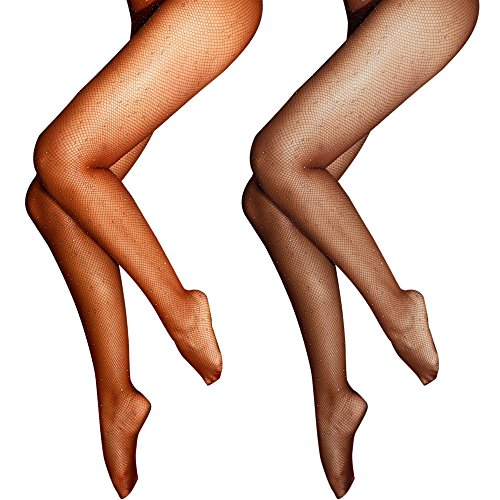 Lady Up Fishnet Pantyhose Hosiery Glitter Net Tights Rhinestone High Waist Stockings for Very Sexy Women Fashion Thigh High (Brown and Coffee) ()