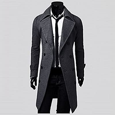 Fashion Men's Slim Stylish Trench Coat, G-Real Double Breasted Long Jacket Parka