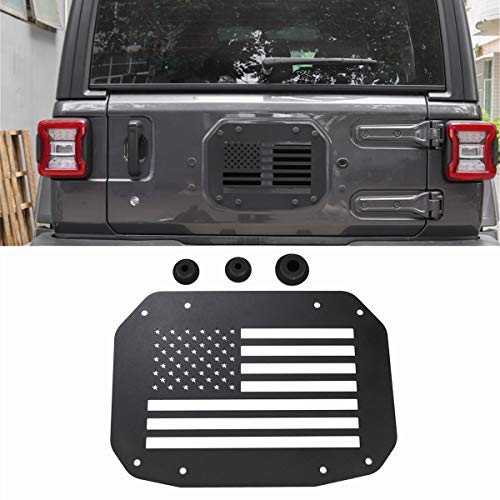Tire Chrome Spare Trim Accessory (YOCTM Black Spare Tire Carrier Delete Filler Plate Tramp Stamp + 3 Tailgate Rubber Plugs Set for Jeep Wrangler JL 2018 Removed Tire Carrier Bumper Tramp Stamp (American Flag))