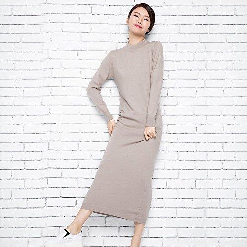 Vestido Largo Color Primavera Hyw Suéter Sólido Larga De Segundo Salvaje Manga dtwqn6O