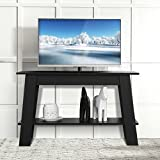 TANGKULA 2-Tier Tea Table Retangular Wood Coffee Table Modern Multipurpose TV Stand with Storage Shelf Home Office Decor, Black