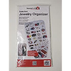 Household Essentials 01943 Hanging Jewelry Organizer - 80-Pockets Necklaces, Bracelets Accessories - White Vinyl