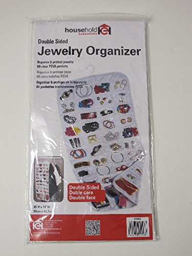 Household Essentials 80-Pocket Hanging Jewelry and Accessories Organizer, White Vinyl