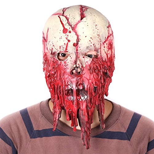 ALWONDER Halloween Mask Blood Drainer Scary Melting Face Cosplay Costume Zombie Mask Horror Theme Party Realistic Latex Prop Big -