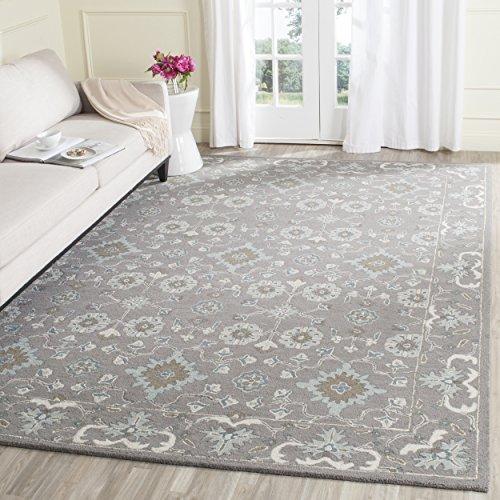 Safavieh Blossom Collection BLM218A Handmade Grey Premium Wool Area Rug (8' x 10') (Gray Wool Rug)