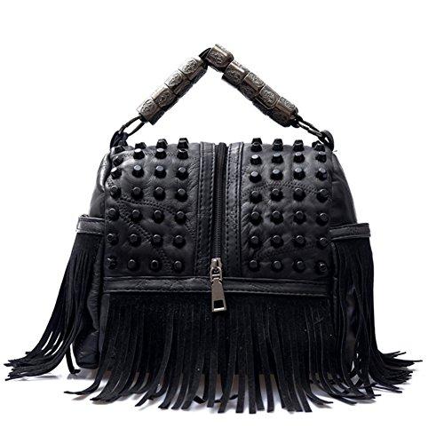 Rivetto Ladies nero frange retro nero hobo borse crossbody ragazze borsa Borse per a spalla con portatile 0qXXr6xI