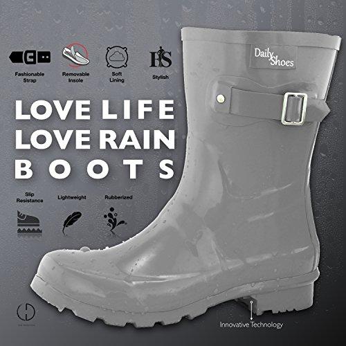 DailyShoes Womens Mid Calf Buckle Ankle High Hunter Rain Round Toe Rainboots Grey xWYOGKL